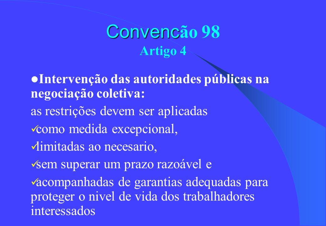 Convenc Convenc ão 98 Artigo 4 Intervenção das autoridades públicas na negociação coletiva: as restrições devem ser aplicadas como medida excepcional,