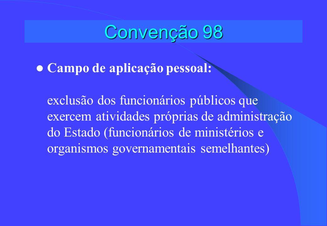 Convenção 98 Artigo 1 Proteção contra os atos de discriminação anti-sindical Especialmente importante no caso dos dirigentes e dos representantes sindicais Dificuldade de demonstrar o carater anti-sindical Procedimentos rápidos, pouco custosos e imparciais Sanções dissuasivas