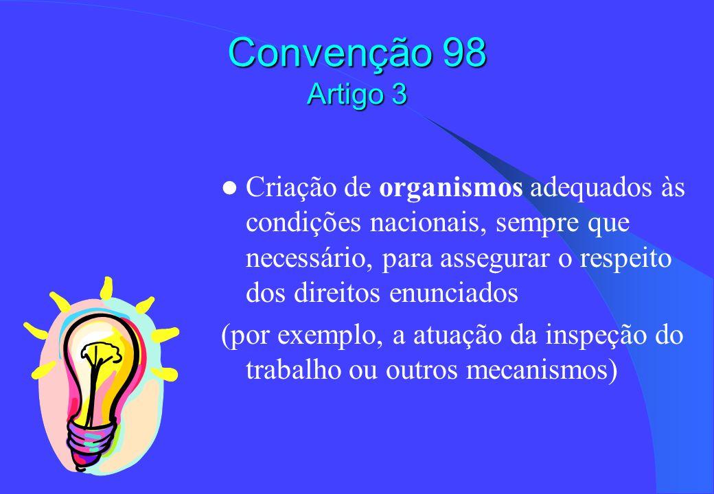 Convenção 98 Artigo 3 Criação de organismos adequados às condições nacionais, sempre que necessário, para assegurar o respeito dos direitos enunciados