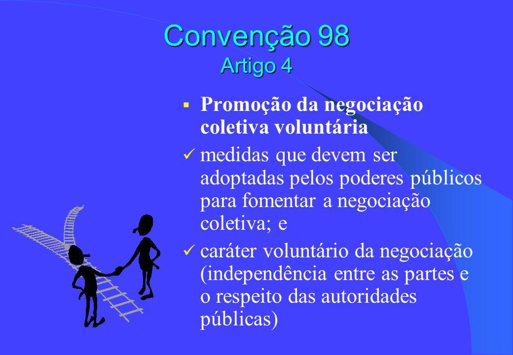 Convenção 98 Artigo 4 Titularidade da negociação: empregadores e suas organizações e as organizações de trabalhadores Problema da representatividade: admite-se que possam ser concedidos direitos preferenciais em matéria de negociação às organizações mais representativas