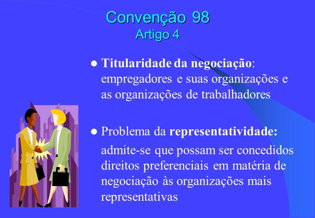 Convenção 98 Artigo 4 Titularidade da negociação: empregadores e suas organizações e as organizações de trabalhadores Problema da representatividade: