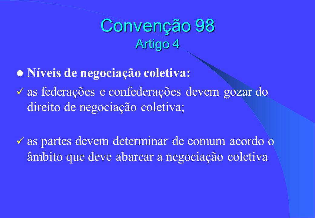 Convenção 98 Artigo 4 Níveis de negociação coletiva: as federações e confederações devem gozar do direito de negociação coletiva; as partes devem dete