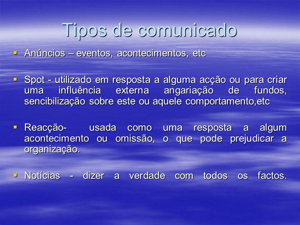 Tipos de comunicado Anúncios – eventos, acontecimentos, etc Anúncios – eventos, acontecimentos, etc Spot - utilizado em resposta a alguma acção ou par