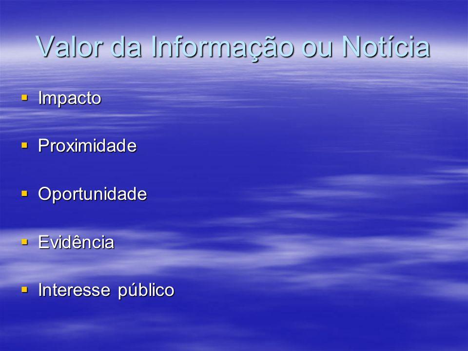 Valor da Informação ou Notícia Impacto Impacto Proximidade Proximidade Oportunidade Oportunidade Evidência Evidência Interesse público Interesse público