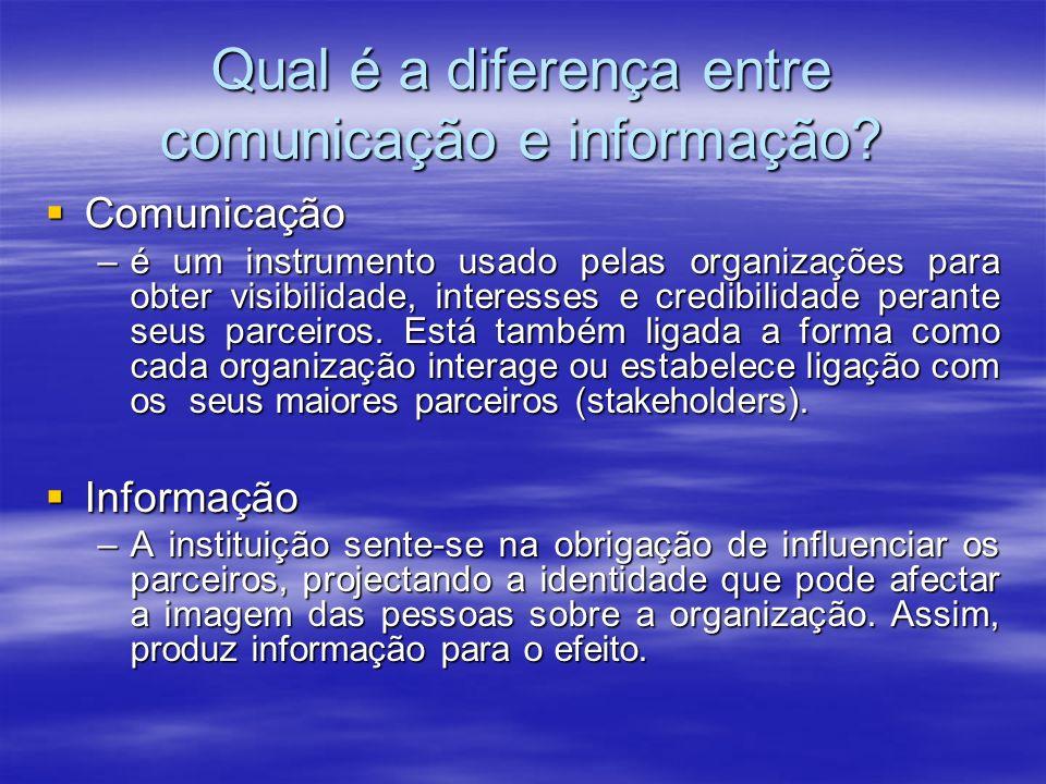 Qual é a diferença entre comunicação e informação? Comunicação Comunicação –é um instrumento usado pelas organizações para obter visibilidade, interes