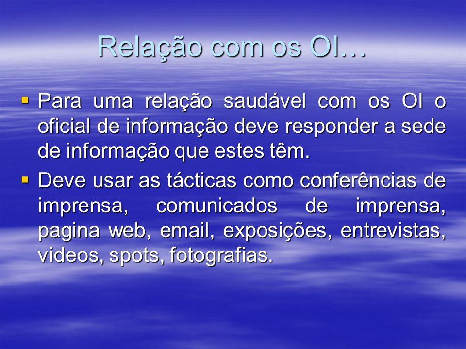 Relação com os OI… Para uma relação saudável com os OI o oficial de informação deve responder a sede de informação que estes têm.