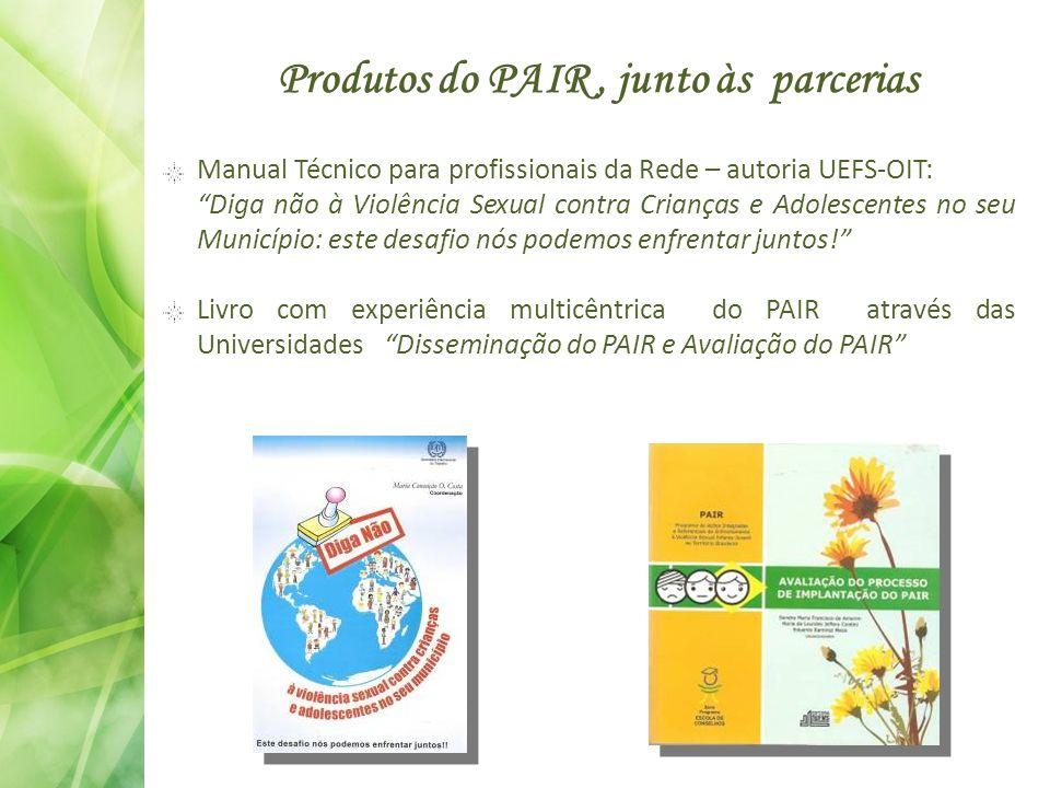 Produtos do PAIR, junto às parcerias Manual Técnico para profissionais da Rede – autoria UEFS-OIT: Diga não à Violência Sexual contra Crianças e Adole