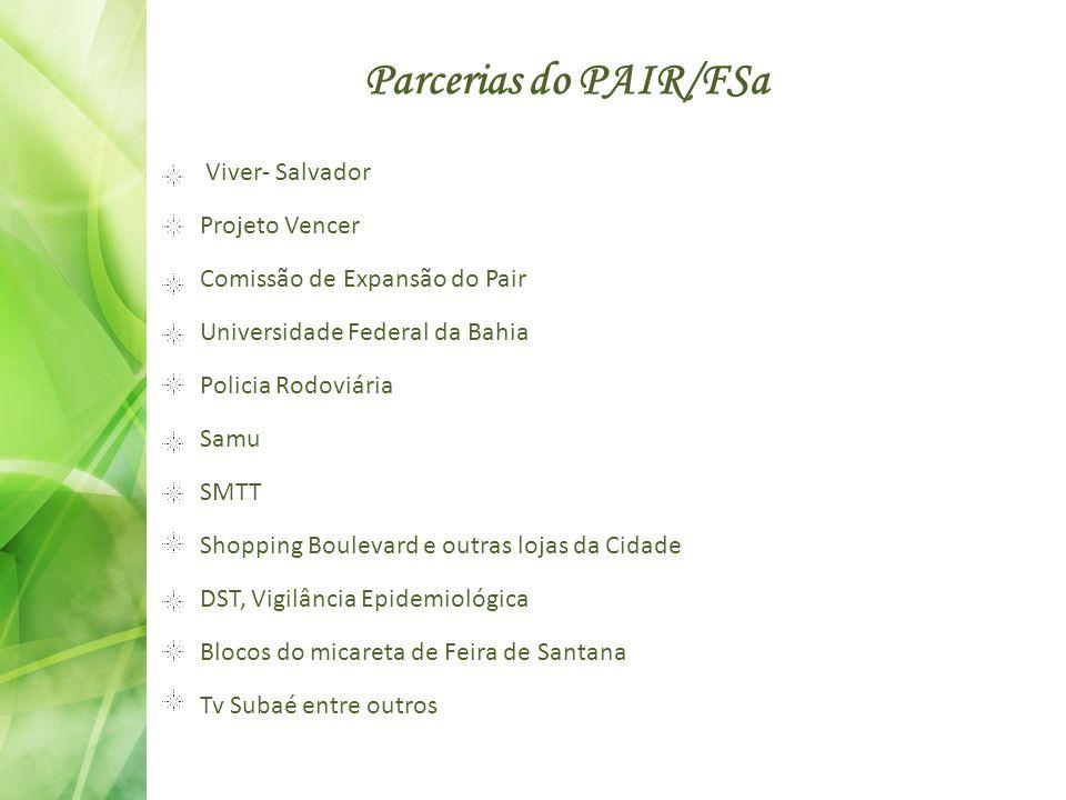 Parcerias do PAIR/FSa Viver- Salvador Projeto Vencer Comissão de Expansão do Pair Universidade Federal da Bahia Policia Rodoviária Samu SMTT Shopping