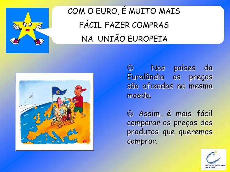 COM O EURO, É MUITO MAIS FÁCIL FAZER COMPRAS NA UNIÃO EUROPEIA Nos países da Eurolândia os preços são afixados na mesma moeda. Nos países da Eurolândi