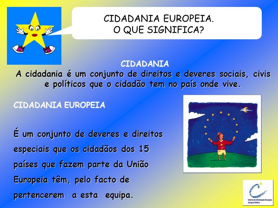 CIDADANIA EUROPEIA. O QUE SIGNIFICA? CIDADANIA A cidadania é um conjunto de direitos e deveres sociais, civis e políticos que o cidadão tem no país on