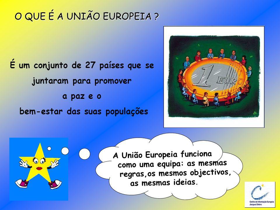 A União Europeia funciona como uma equipa: as mesmas regras,os mesmos objectivos, as mesmas ideias. O QUE É A UNIÃO EUROPEIA ? É um conjunto de 27 paí