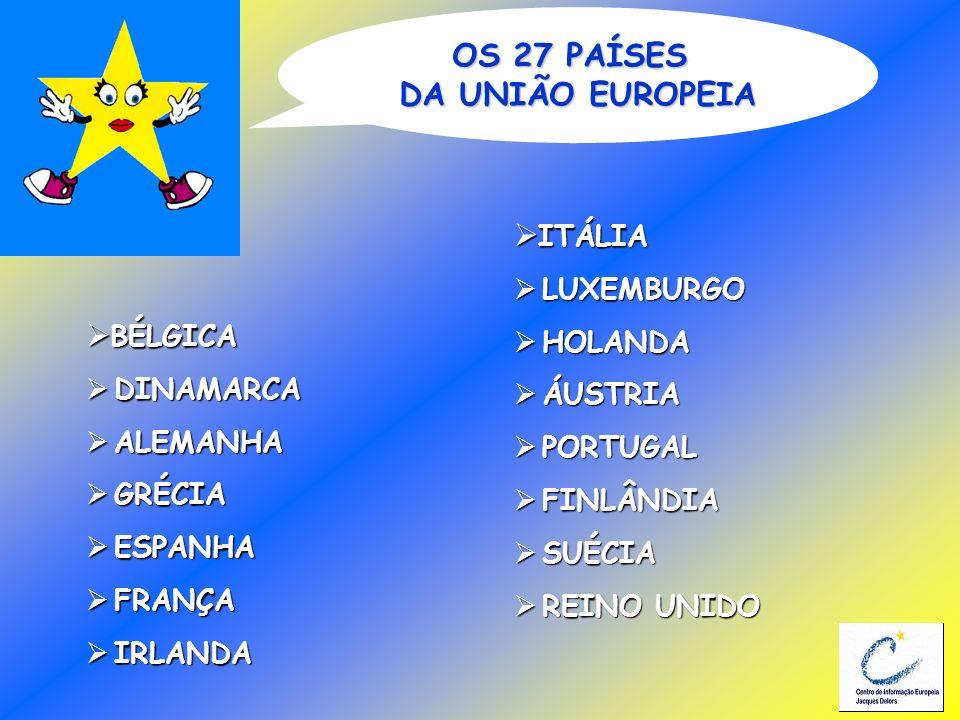BÉLGICA BÉLGICA DINAMARCA DINAMARCA ALEMANHA ALEMANHA GRÉCIA GRÉCIA ESPANHA ESPANHA FRANÇA FRANÇA IRLANDA IRLANDA OS 27 PAÍSES DA UNIÃO EUROPEIA ITÁLI