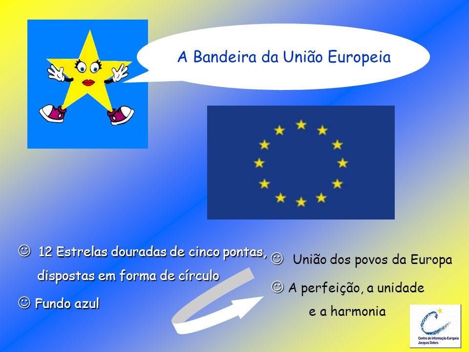 12 Estrelas douradas de cinco pontas, 12 Estrelas douradas de cinco pontas, dispostas em forma de círculo dispostas em forma de círculo Fundo azul Fun