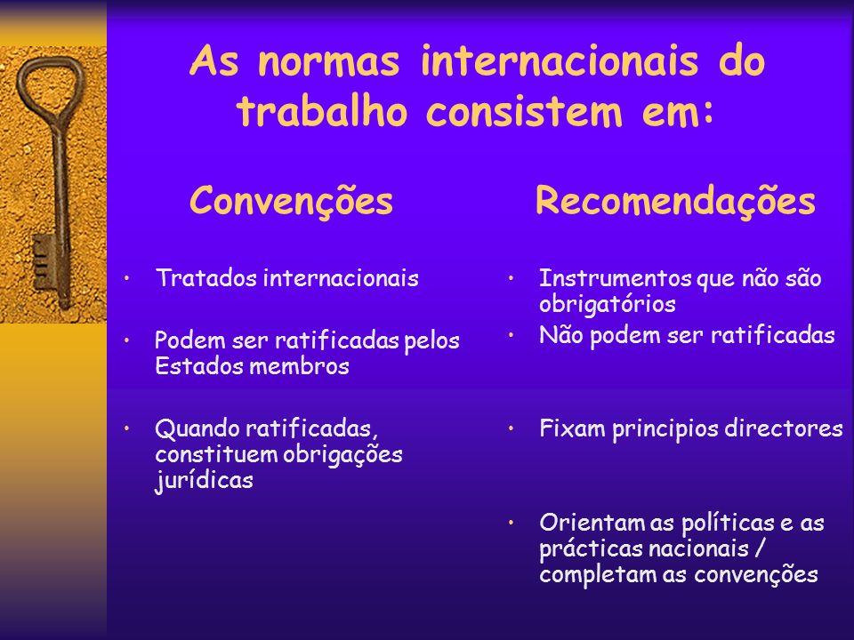 As normas internacionais do trabalho consistem em: Convenções Tratados internacionais Podem ser ratificadas pelos Estados membros Quando ratificadas,