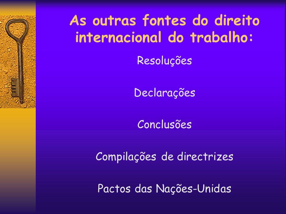 As outras fontes do direito internacional do trabalho: Resoluções Declarações Conclusões Compilações de directrizes Pactos das Nações-Unidas