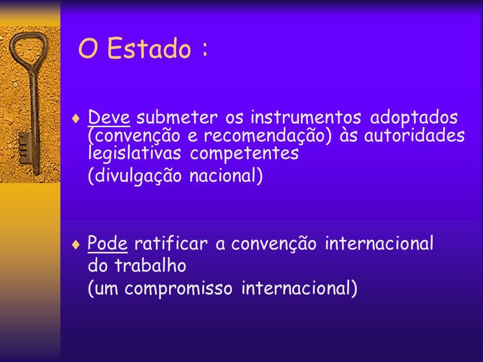 O Estado : Deve submeter os instrumentos adoptados (convenção e recomendação) às autoridades legislativas competentes (divulgação nacional) Pode ratif