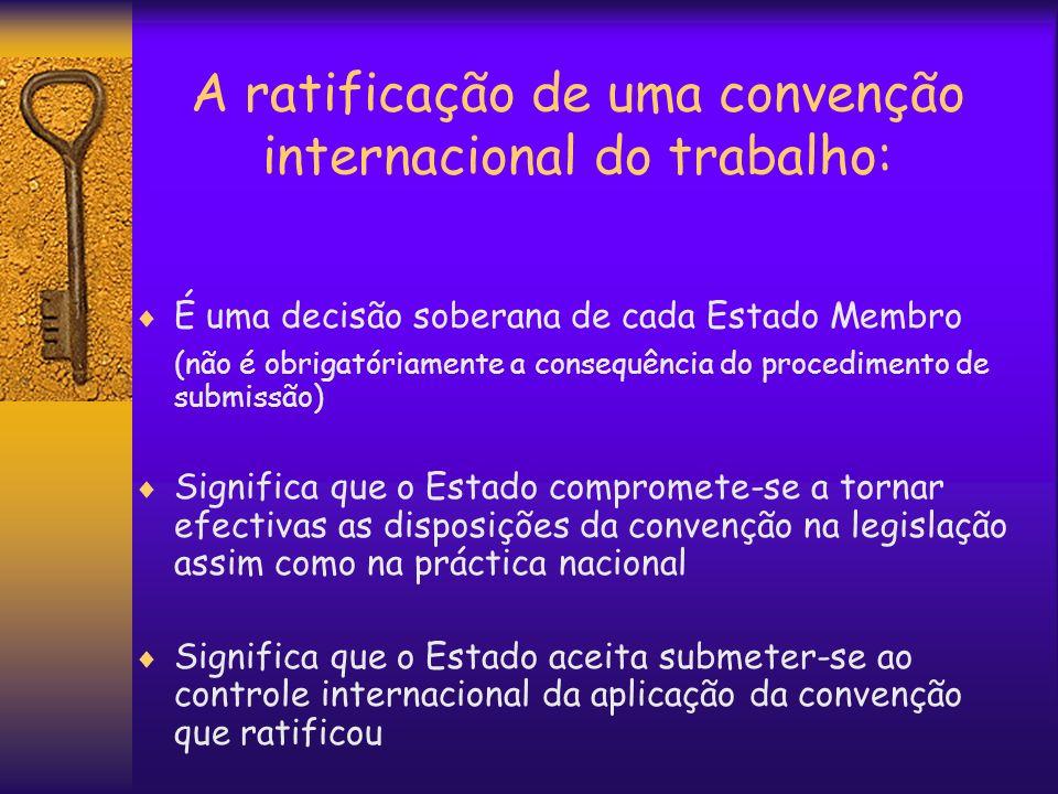 A ratificação de uma convenção internacional do trabalho: É uma decisão soberana de cada Estado Membro (não é obrigatóriamente a consequência do proce