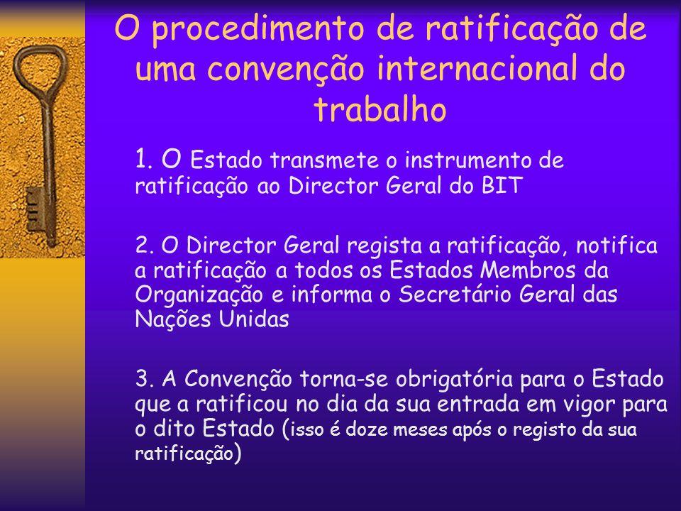 O procedimento de ratificação de uma convenção internacional do trabalho 1. O Estado transmete o instrumento de ratificação ao Director Geral do BIT 2