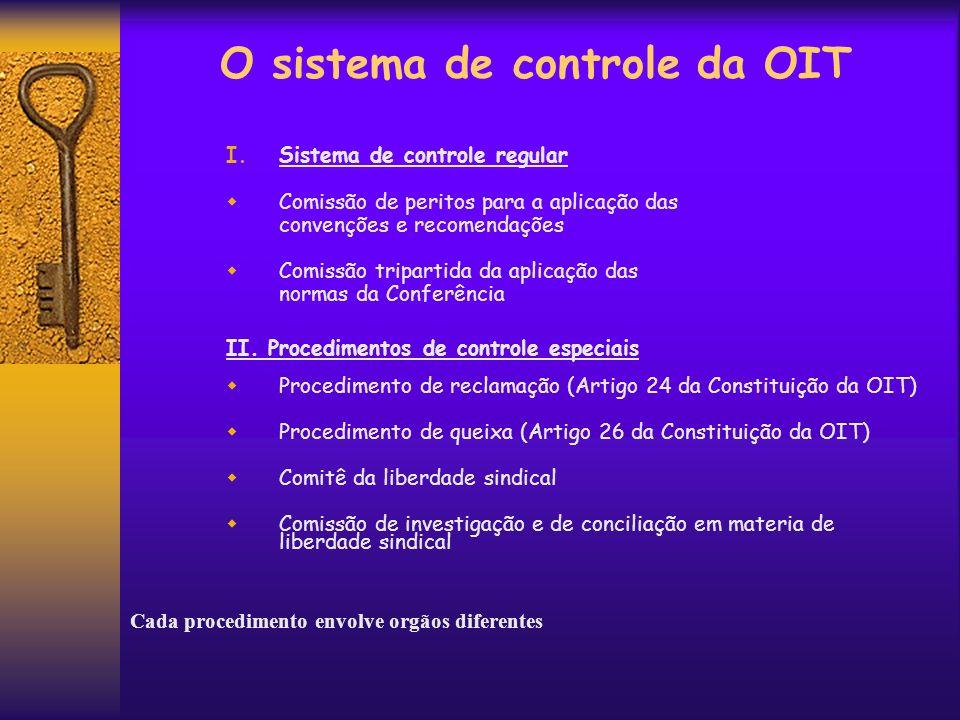 O sistema de controle da OIT I.Sistema de controle regular Comissão de peritos para a aplicação das convenções e recomendações Comissão tripartida da