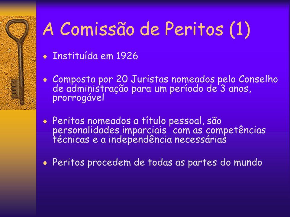 A Comissão de Peritos (1) Instituída em 1926 Composta por 20 Juristas nomeados pelo Conselho de administração para um período de 3 anos, prorrogável P