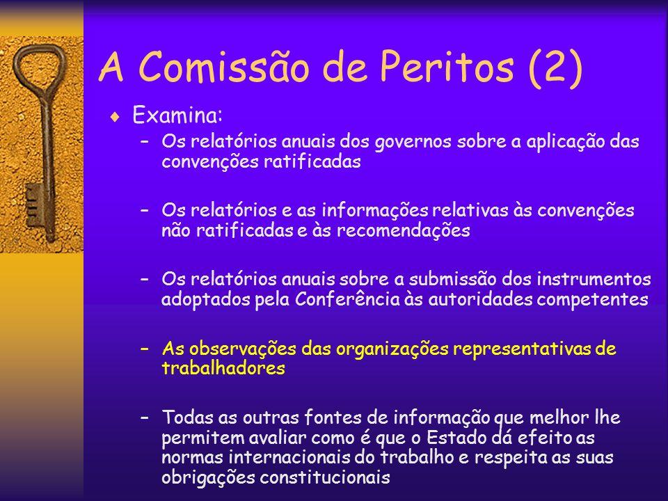A Comissão de Peritos (2) Examina: –Os relatórios anuais dos governos sobre a aplicação das convenções ratificadas –Os relatórios e as informações rel