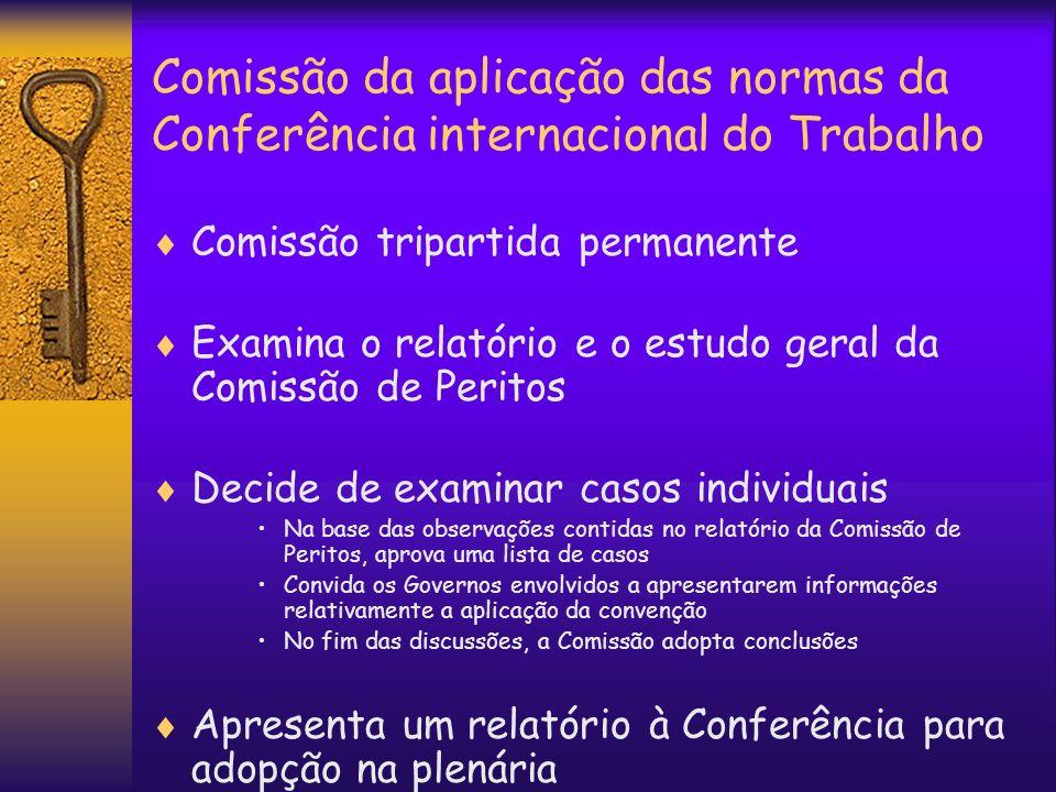 Comissão da aplicação das normas da Conferência internacional do Trabalho Comissão tripartida permanente Examina o relatório e o estudo geral da Comis