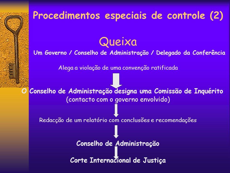 Procedimentos especiais de controle (2) Queixa Um Governo / Conselho de Administração / Delegado da Conferência Alega a violação de uma convenção rati