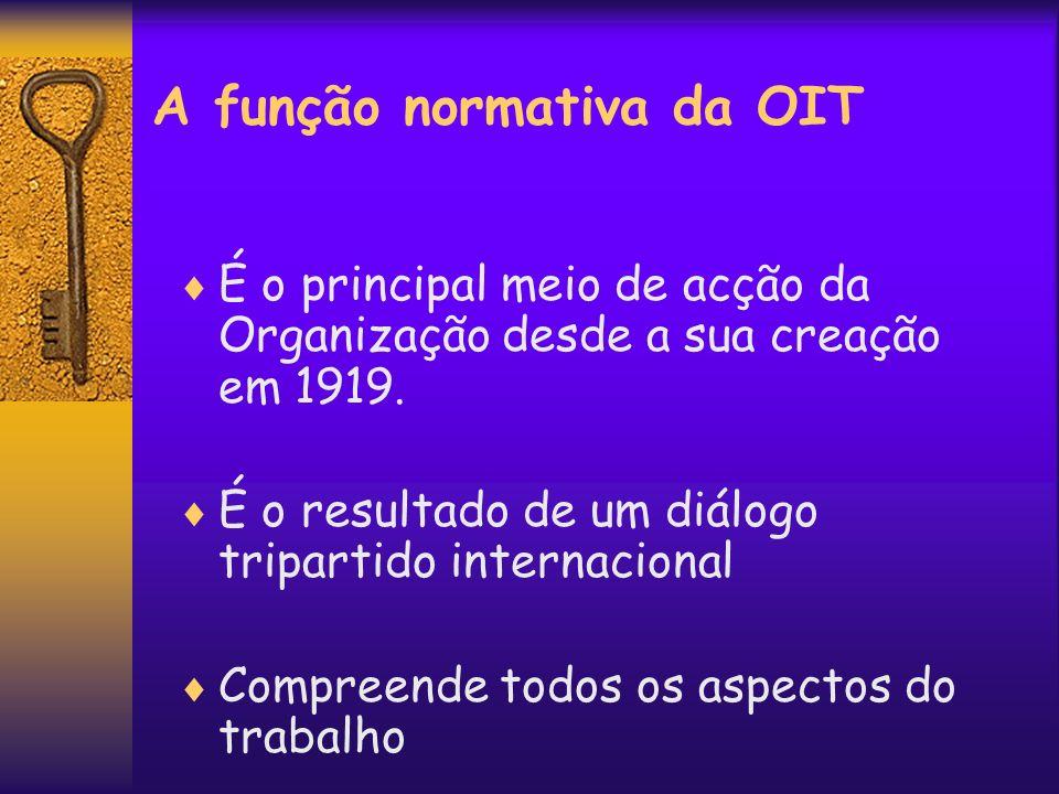 A função normativa da OIT É o principal meio de acção da Organização desde a sua creação em 1919. É o resultado de um diálogo tripartido internacional