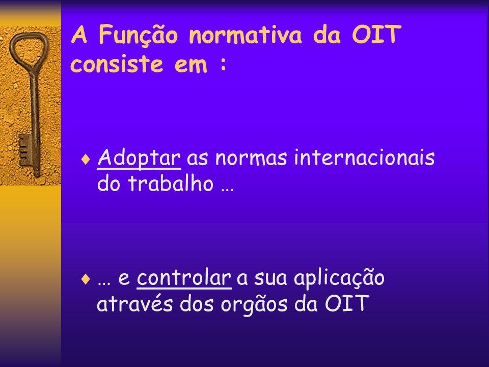 A Função normativa da OIT consiste em : Adoptar as normas internacionais do trabalho … … e controlar a sua aplicação através dos orgãos da OIT