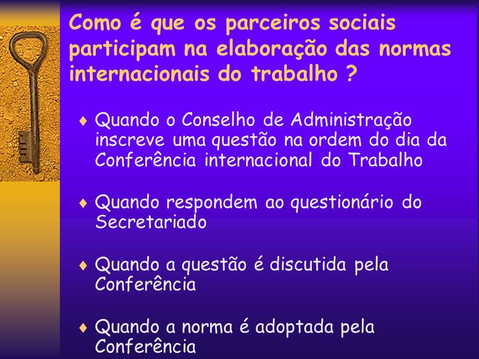 Como é que os parceiros sociais participam na elaboração das normas internacionais do trabalho ? Quando o Conselho de Administração inscreve uma quest