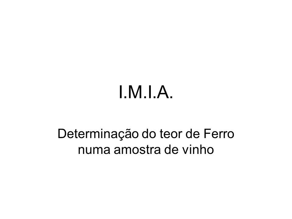 I.M.I.A. Determinação do teor de Ferro numa amostra de vinho