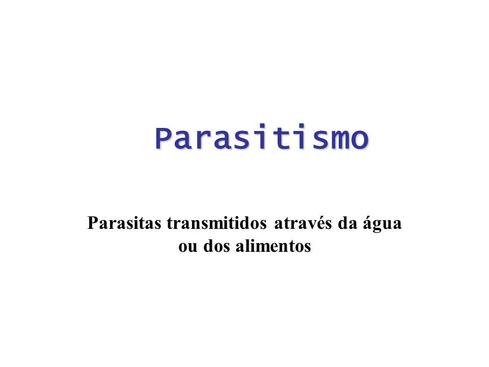 Parasitismo Parasitas transmitidos através da água ou dos alimentos