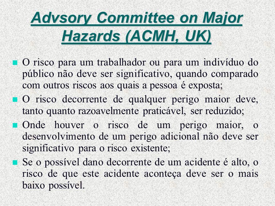 Advsory Committee on Major Hazards (ACMH, UK) n O risco para um trabalhador ou para um indivíduo do público não deve ser significativo, quando compara