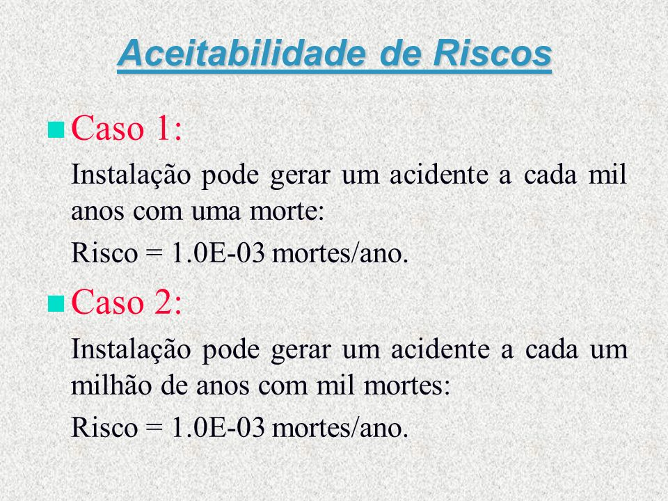 Aceitabilidade de Riscos n Caso 1: Instalação pode gerar um acidente a cada mil anos com uma morte: Risco = 1.0E-03 mortes/ano. n Caso 2: Instalação p