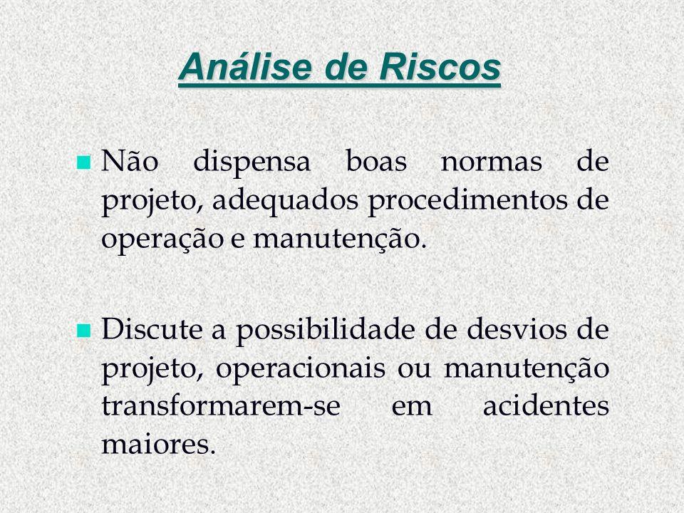 Análise de Riscos n Não dispensa boas normas de projeto, adequados procedimentos de operação e manutenção. n Discute a possibilidade de desvios de pro