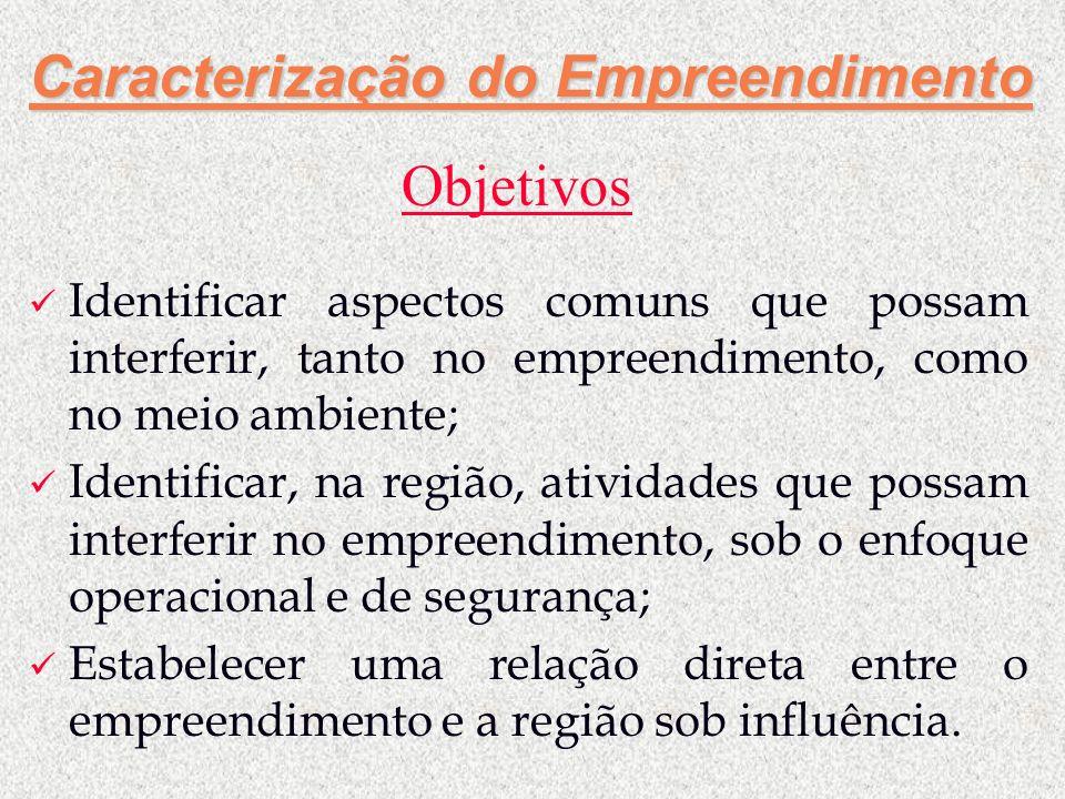 Caracterização do Empreendimento Identificar aspectos comuns que possam interferir, tanto no empreendimento, como no meio ambiente; Identificar, na re