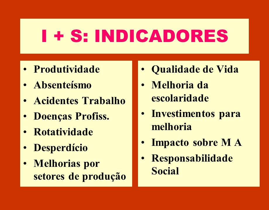 I + S: INDICADORES Produtividade Absenteísmo Acidentes Trabalho Doenças Profiss. Rotatividade Desperdício Melhorias por setores de produção Qualidade