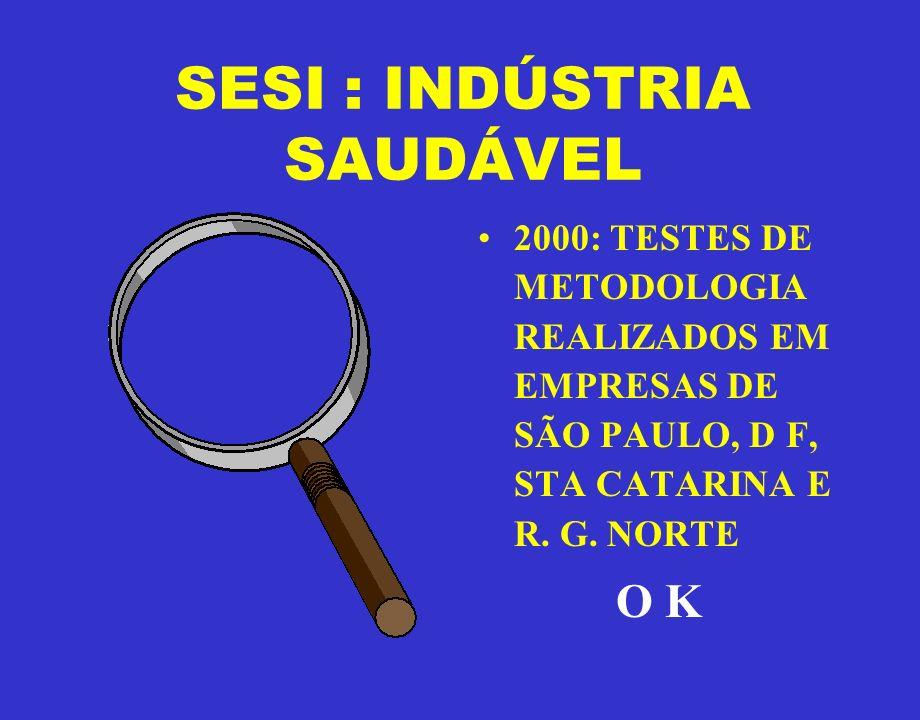 SESI : INDÚSTRIA SAUDÁVEL 2000: TESTES DE METODOLOGIA REALIZADOS EM EMPRESAS DE SÃO PAULO, D F, STA CATARINA E R. G. NORTE O K