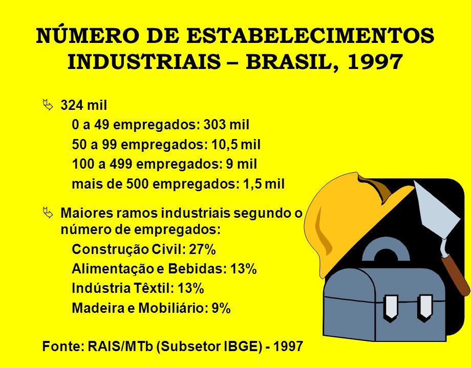 NÚMERO DE ESTABELECIMENTOS INDUSTRIAIS – BRASIL, 1997 324 mil 0 a 49 empregados: 303 mil 50 a 99 empregados: 10,5 mil 100 a 499 empregados: 9 mil mais