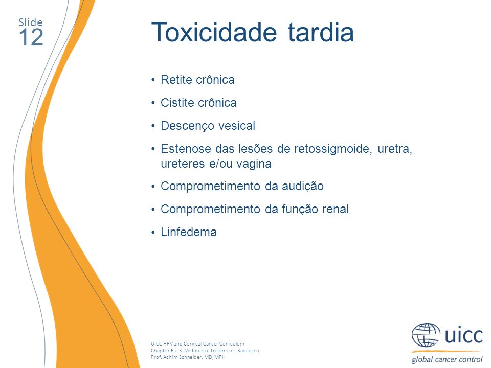 UICC HPV and Cervical Cancer Curriculum Chapter 6.c.3. Methods of treatment - Radiation Prof. Achim Schneider, MD, MPH Slide 12 Toxicidade tardia Reti