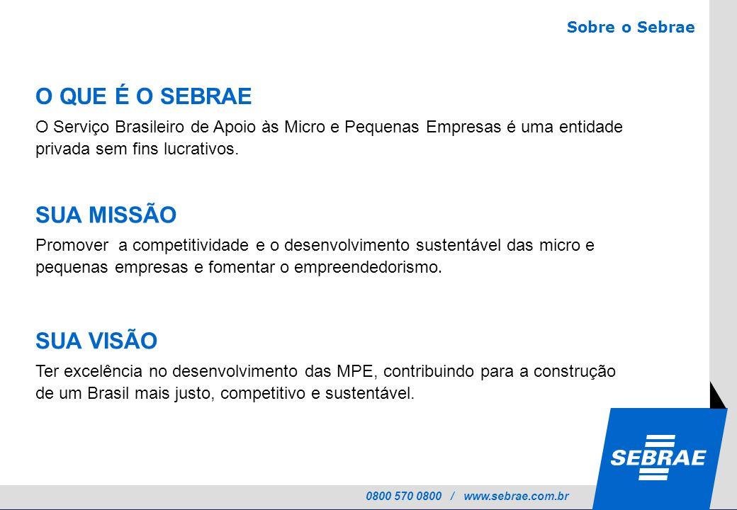 0800 570 0800 / www.sebrae.com.br SUA MISSÃO Promover a competitividade e o desenvolvimento sustentável das micro e pequenas empresas e fomentar o emp