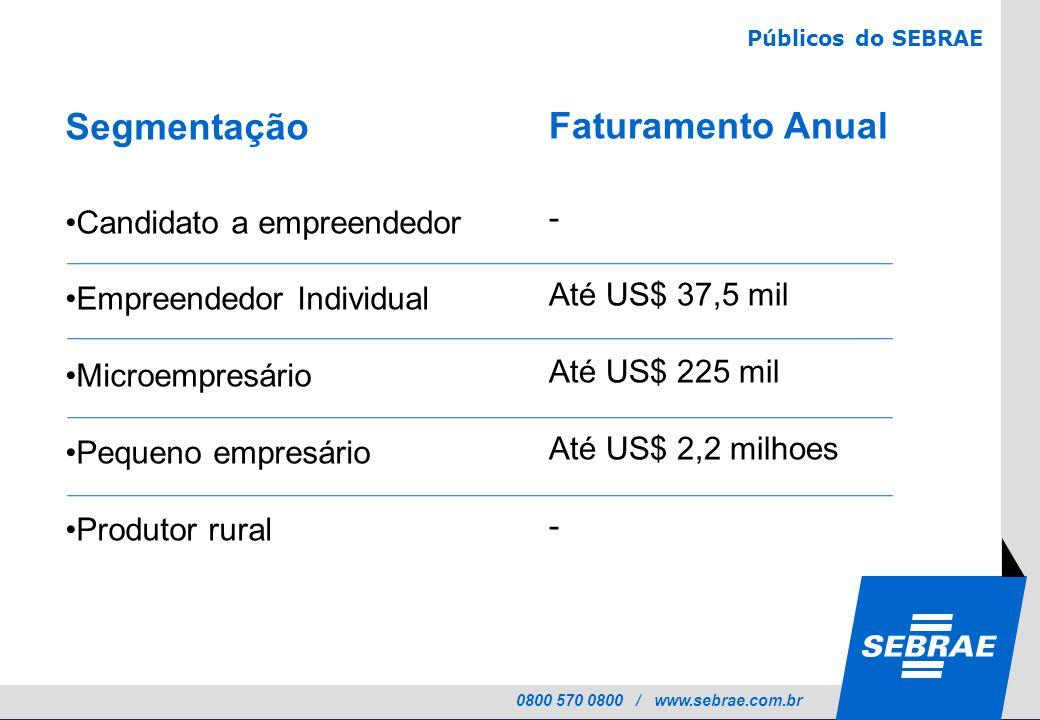 0800 570 0800 / www.sebrae.com.br Segmentação Candidato a empreendedor Empreendedor Individual Microempresário Pequeno empresário Produtor rural Públi