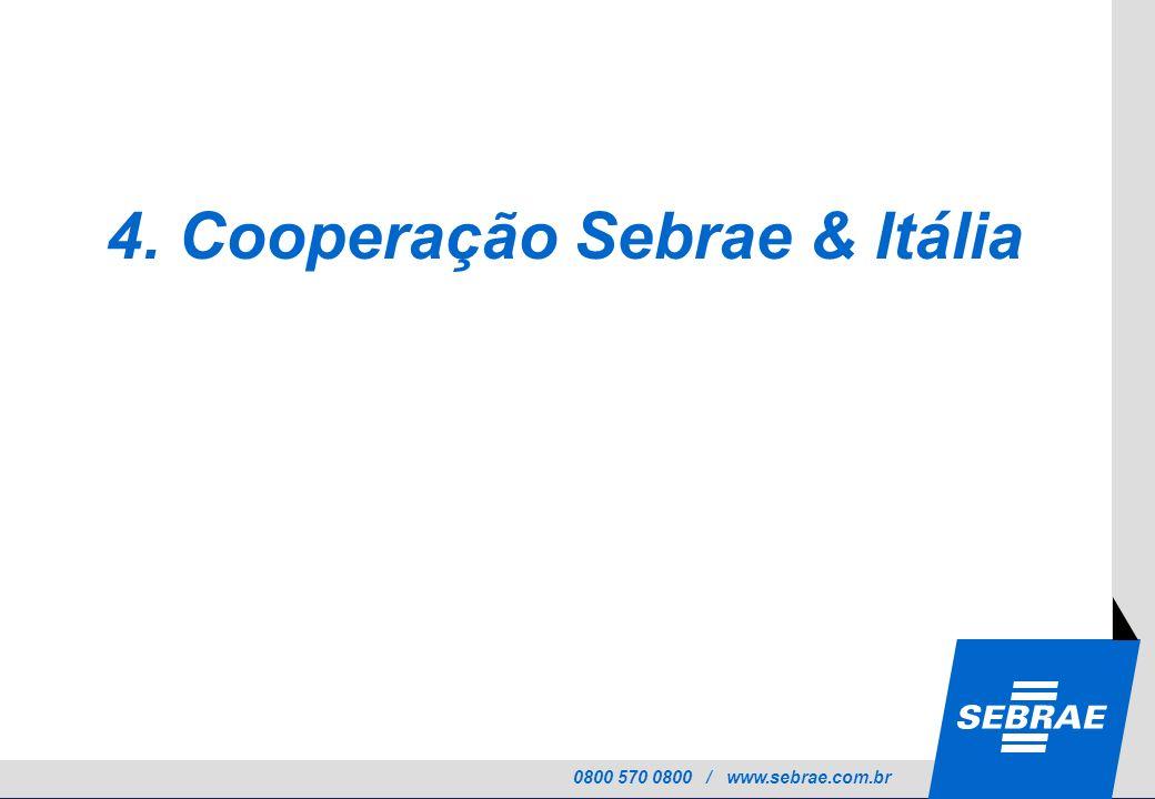 0800 570 0800 / www.sebrae.com.br 4. Cooperação Sebrae & Itália
