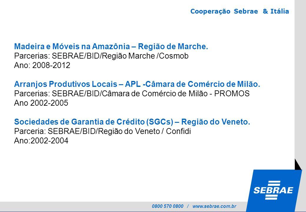 0800 570 0800 / www.sebrae.com.br Madeira e Móveis na Amazônia – Região de Marche. Parcerias: SEBRAE/BID/Região Marche /Cosmob Ano: 2008-2012 Arranjos