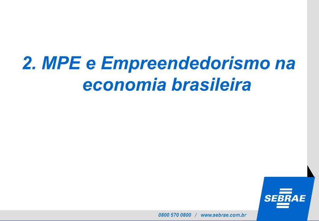 0800 570 0800 / www.sebrae.com.br 2. MPE e Empreendedorismo na economia brasileira