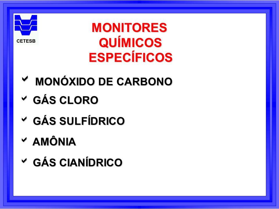 MONITORESQUÍMICOSESPECÍFICOS MONÓXIDO DE CARBONO MONÓXIDO DE CARBONO GÁS CLORO GÁS CLORO GÁS SULFÍDRICO GÁS SULFÍDRICO AMÔNIA AMÔNIA GÁS CIANÍDRICO GÁ