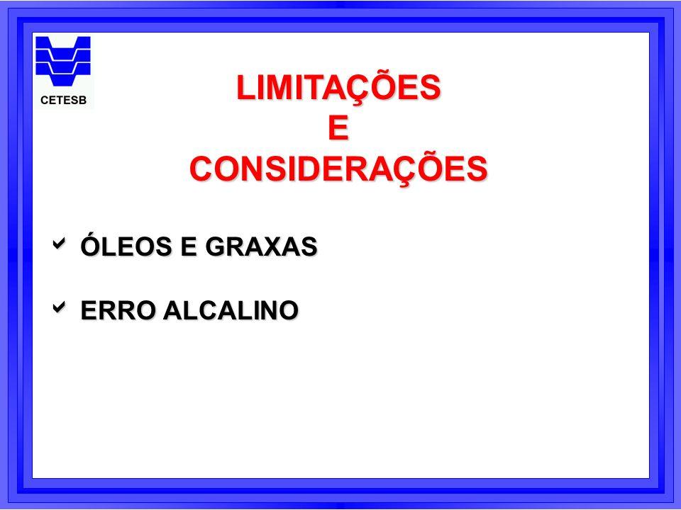 LIMITAÇÕES ECONSIDERAÇÕES ÓLEOS E GRAXAS ÓLEOS E GRAXAS ERRO ALCALINO ERRO ALCALINO