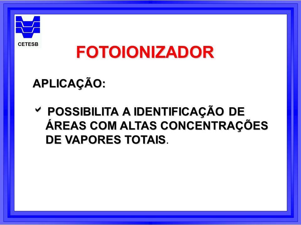 FOTOIONIZADOR APLICAÇÃO: POSSIBILITA A IDENTIFICAÇÃO DE POSSIBILITA A IDENTIFICAÇÃO DE ÁREAS COM ALTAS CONCENTRAÇÕES DE VAPORES TOTAIS DE VAPORES TOTA