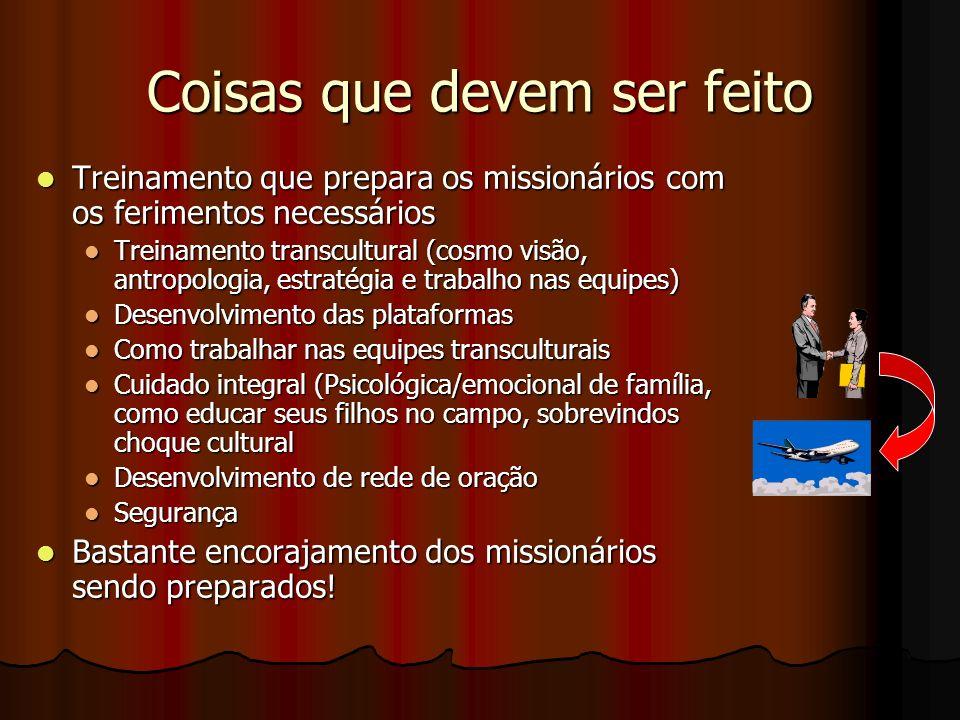 Coisas que devem ser feito Treinamento que prepara os missionários com os ferimentos necessários Treinamento que prepara os missionários com os ferime