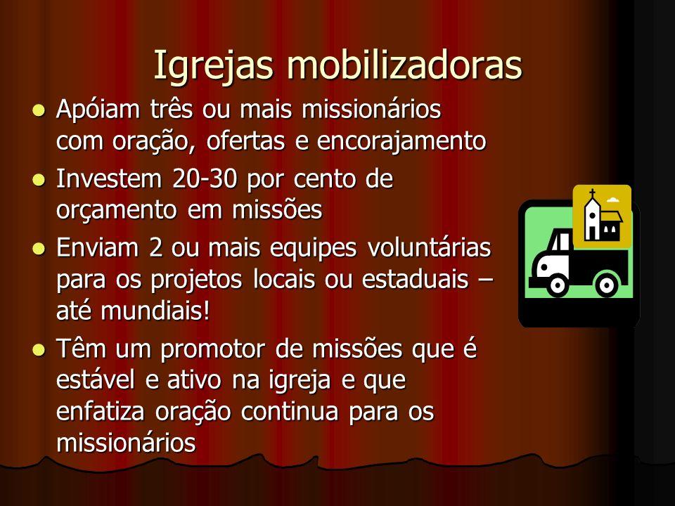 Igrejas mobilizadoras Apóiam três ou mais missionários com oração, ofertas e encorajamento Apóiam três ou mais missionários com oração, ofertas e enco